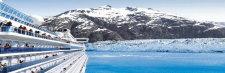 cruise ship up close at a glacier